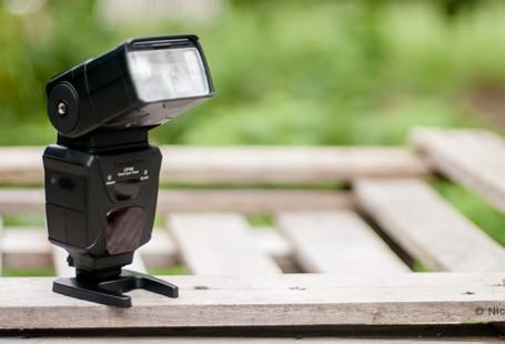 LumoPro LP 180 flash unit with shallow depth of field