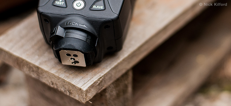 Close-up of the LumoPro's LP180 mounting foot and locking mechanism.