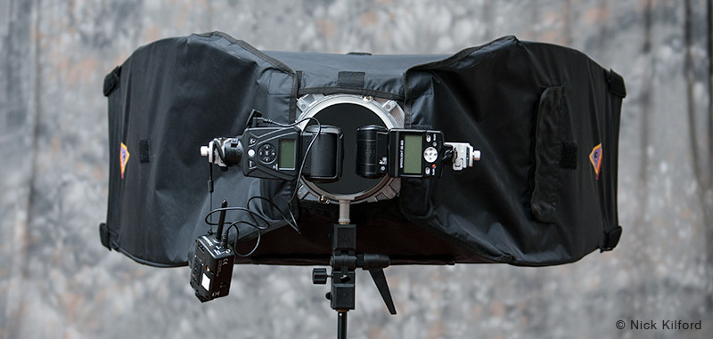 Lumopro double flash bracket with softbox mounted with two speedlights attached