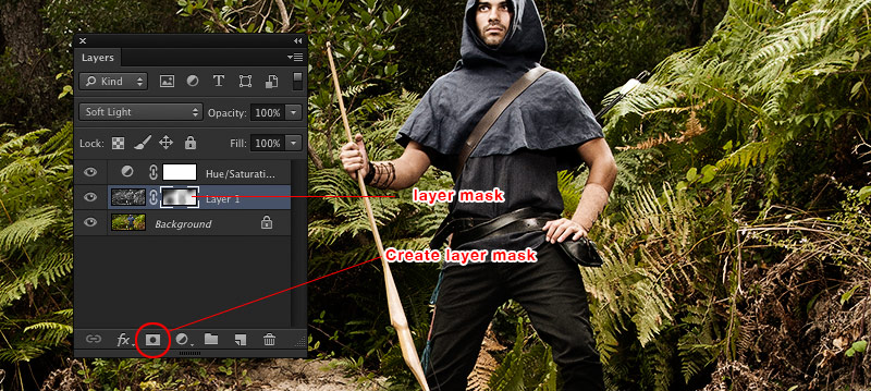 Add layer masks from the Layers Palette to hide or reveal the contents of the corresponding layer.